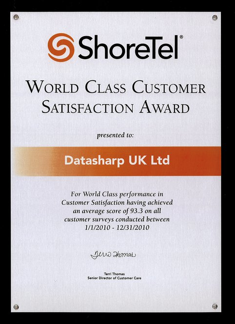 ShoreTel World Class Customer Satisfaction Award-2010