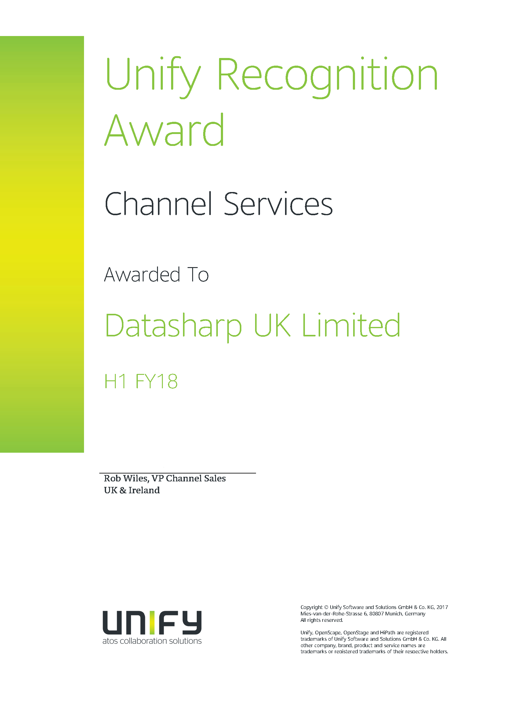 Unify Recognition Award - Channel Services